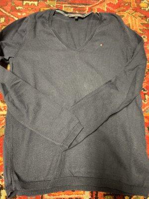 Tommy Hilfiger Sweter z dekoltem w kształcie litery V szary