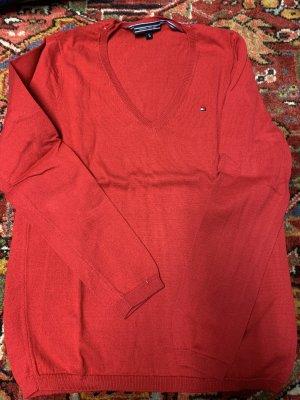 Tommy Hilfiger Sweter z dekoltem w kształcie litery V czerwony