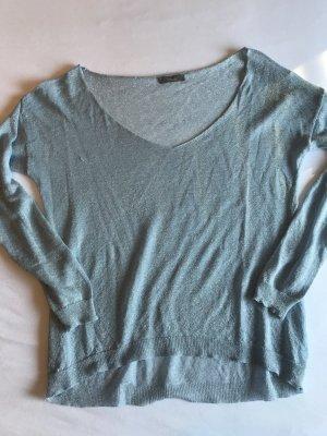 V-Pullover aus dünnem Gewebe mit Glitzereffekt