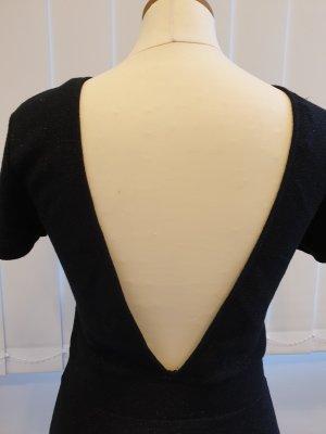 Zara Vestido de noche negro-color plata