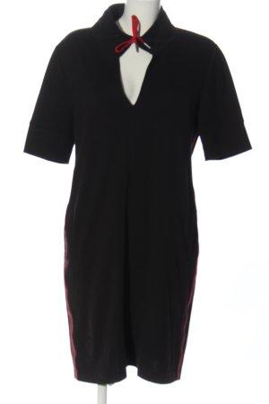 Va bene Robe Sweat noir-rouge motif rayé style décontracté