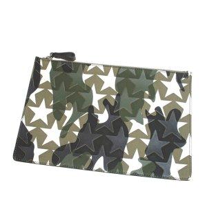 Valentino Camustars Embossed Canvas Clutch Bag