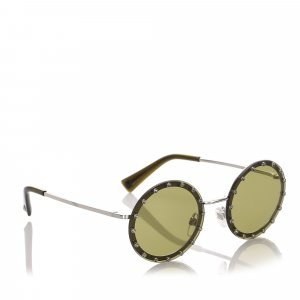 Valentino Crystal Embelished Round Tinted Sunglasses
