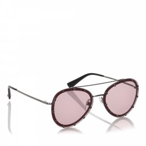 Valentino Crystal Embellished Aviator Sunglasses