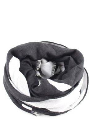 Valentino Écharpe à franges blanc-noir style d'affaires