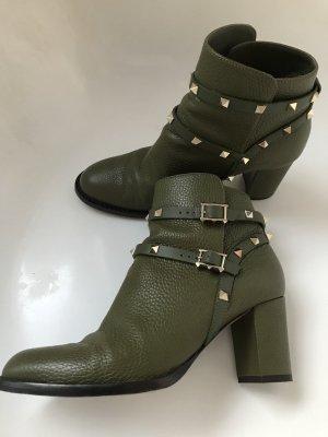 Valentino Garavani Ankle Boots Rockstud, Leder, Gr. 40, olivgrün