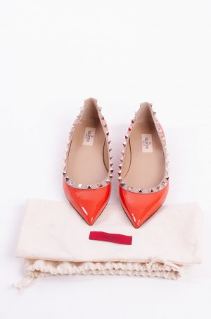 VALENTINO GARAVANI - Ballerinas Rockstud Lackleder Orange