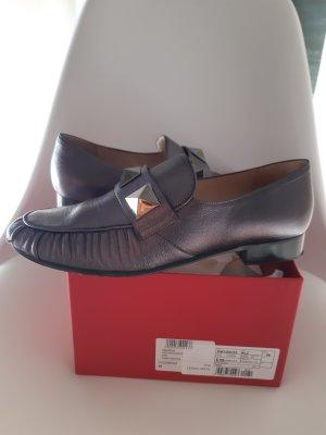 Valentino Mocassins gris anthracite cuir