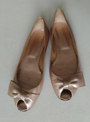 Valentino Garavani Peeptoe Leder Ballerinas 39,5 Rose Gold metalic Schleife