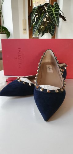 Valentino Ballerinas with Toecap dark blue suede