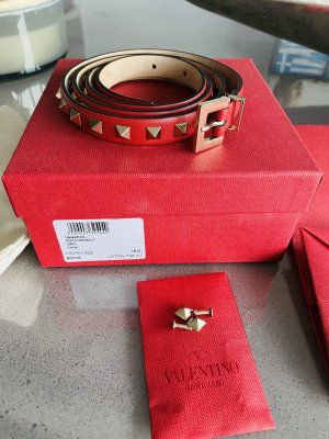 Valentino Leather Belt dark red-gold-colored