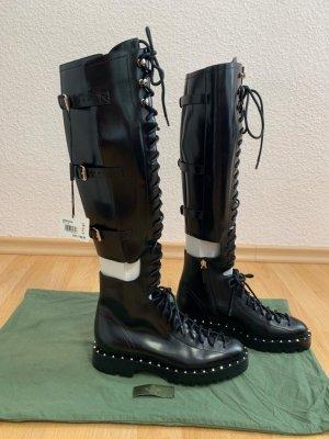 Valentino Garavani Bottes à lacets noir cuir