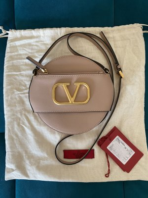 Valentino Garavani Vlogo Mini Circular Crossbody Bag in Rose Canelle