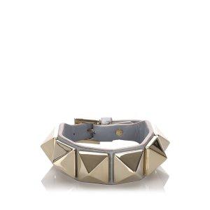 Valentino Leather Glam Studded Bracelet