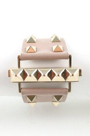 Valentino Bracelet en cuir blanc cassé-doré style festif