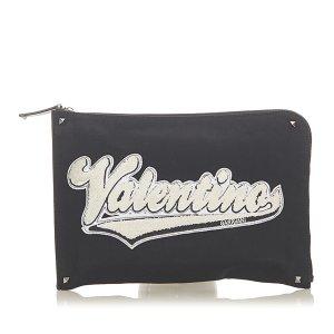 Valentino Logo Canvas Clutch