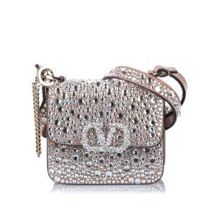 Valentino Micro Crystal Embellished VSling Leather Crossbody Bag