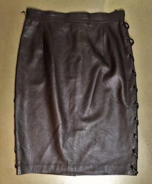 Valentino Falda de cuero marrón oscuro-marrón Cuero
