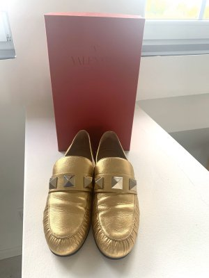 Valentino Moccasins black-gold-colored leather