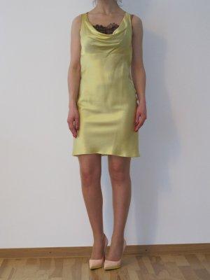 Valentino RED Seidenkleid Kleid Abendkleid Schwarze Spitze 34 XS Pastellgelb