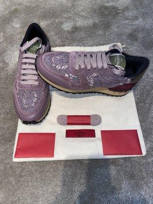 Valentino Sneakers met veters roségoud-bordeaux Kant