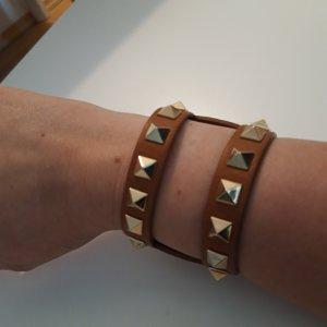 Valentino Leather Bracelet gold-colored-cognac-coloured