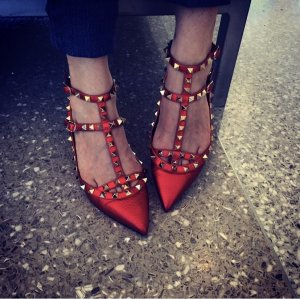 Valentino Strappy Ballerinas dark red