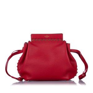 Valentino Rockstud Drawstring Leather Crossbody Bag