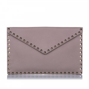 Valentino Rockstud Flat Envelope Leather Clutch Bag