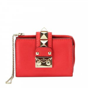 Valentino Rockstud Leather Small Wallet