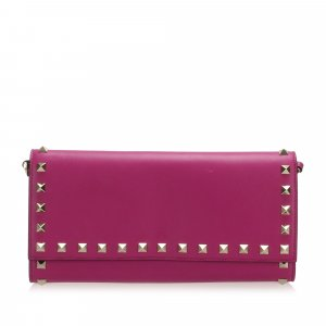 Valentino Rockstud Leather Wallet on Strap