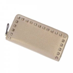 Valentino Rockstud Zip Around Leather Long Wallet