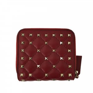 Valentino Rockstud Zip Around Leather Small Wallet