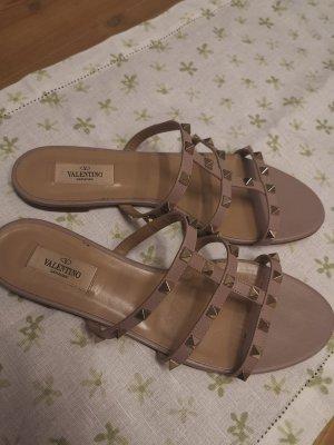 Valentino Sandalo Dianette rosa pallido-oro Pelle