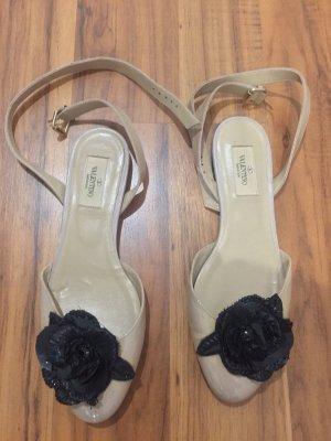 C. Valentino Wedge Sandals cream-black