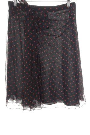 Valentino Seidenrock schwarz-rot Punktemuster Romantik-Look