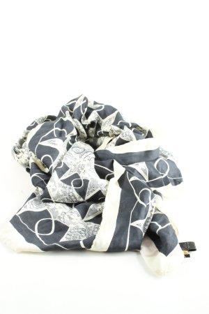 Valentino Jedwabny szal czarny-biały Na całej powierzchni Elegancki