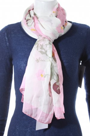 Valentino Jedwabna chusta biały-różowy Wzór w kwiaty Styl klasyczny