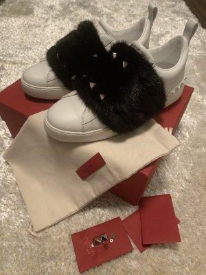 Valentino Garavani Hook-and-loop fastener Sneakers white-black leather