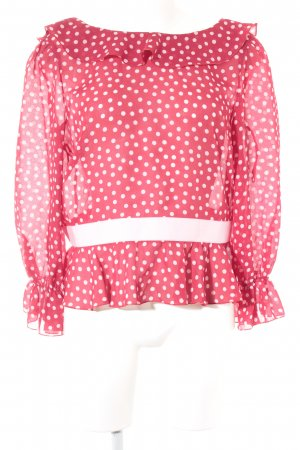Valentino Spa Langarm-Bluse dunkelrot-rosé Punktemuster Casual-Look