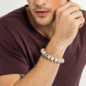 Valentinstag Geschenk Herren Freund Mann Armband 925 Silber beige braun Jaspis 16cm