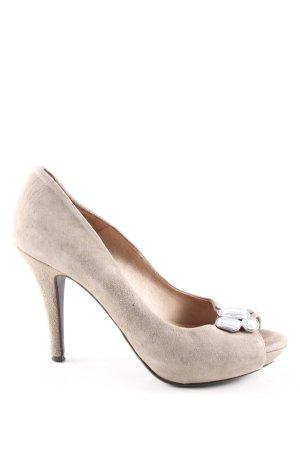 Valerie Perrini Peeptoe Pumps wollweiß-weiß Elegant