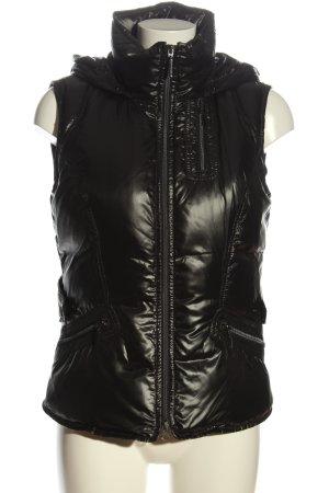 Valiente Gilet à capuche noir motif de courtepointe style décontracté