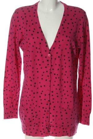 Value Strick Cardigan pink-schwarz Allover-Druck Casual-Look