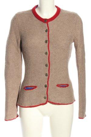 Value Tradycyjna kurtka w kolorze białej wełny-czerwony Warkoczowy wzór