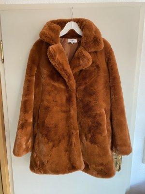 Vamiia Mantel Jacke Kunst-fell Fake Fur Hell Braun Orange Congac XL 44/46 Warm Weich Winter Neu