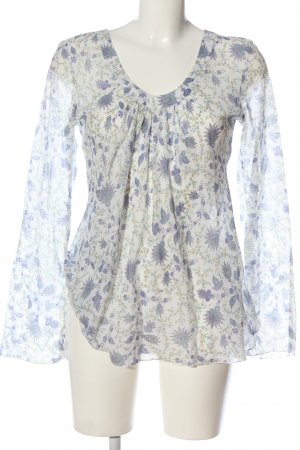 Van den Bergh Long Sleeve Blouse blue-white abstract pattern casual look