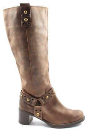 van der Laan Wide Calf Boots brown casual look
