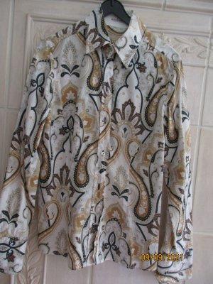van Laack Long Sleeve Blouse white-light brown cotton