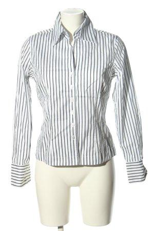 van Laack Hemd-Bluse weiß-schwarz Streifenmuster Business-Look
